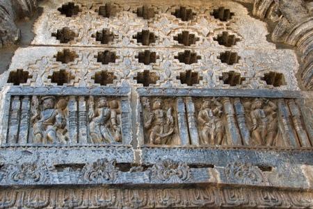 soapstone: Wall carvings with ventilators in Hoysaleshwara templeat Halebidu, Hassan district, Karnataka state, India, Asia Stock Photo