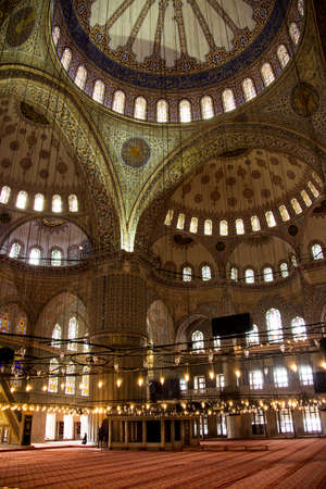 The interior of the blue mosque of Istanbul is covered with blue tiles  It was buildt by Sultan Achmed in 1609