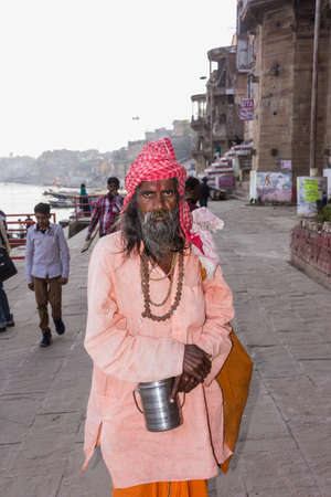 sadhu at the ghats of the holy hindhu city of Varanasi