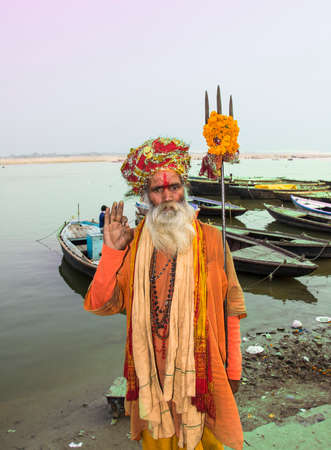 A holy man or sadhu on the ghats of the holy city of Varanasi