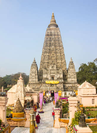 bodhgaya: The famous Mahabodhi temple in Bodhgaya, India  It is the place, where Buddha became enlightened   all faces blurred