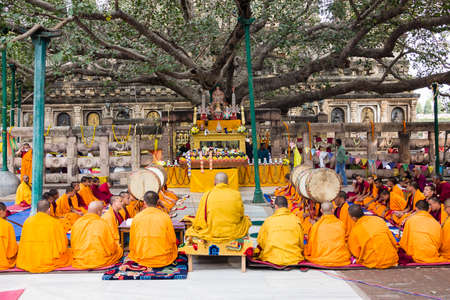 Tibetan monks are celebrating a ceremony beneath the bodhi tree, under which the buddha became enlightened  They are chanting and holding up their drums