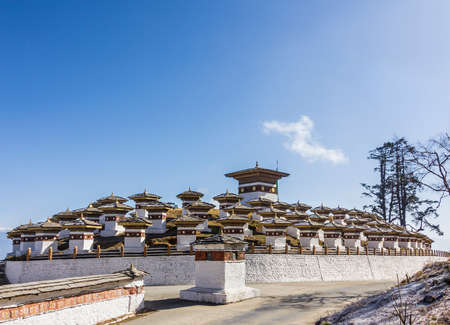 ancient pass: 108 chortens  or choertens or stupas  have been erected at Bhutan