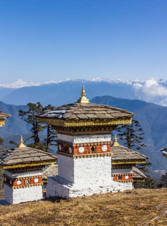 erected: 108 chortens  or choertens or stupas  have been erected at Bhutan