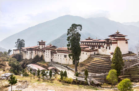 The beautiful dzong of Trongsa, Bhutan  Dzongs are fortress like buildings that house a monastery and administration offices  photo