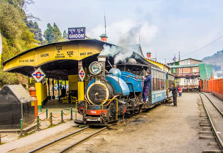 narrow gauge railways: The historic narrow-gauge train of darjeeling  The picture shows it at the station of Ghoom
