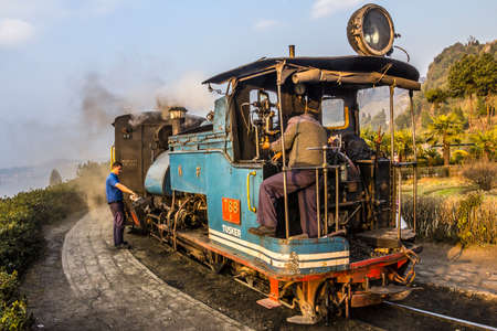 narrow gauge railways: The historic narrow-gauge train of darjeeling at a stop on the route