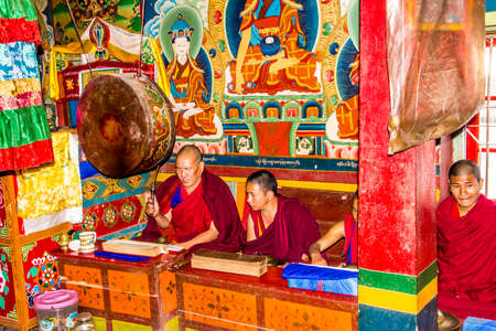 ling: A ritual in yung drung kundrak ling bon monastery near Ravangla, India, held by four monchs.