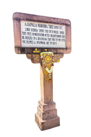 gaya: One of the signposts near Mahabodhi temple, showing Buddhas stations after enlightenment. isolated on white