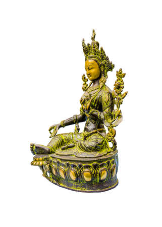 The green Tara, a buddhist goddess worshipped in Nepal and other himalayan Countries, isolated on white