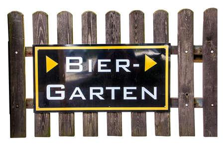 biergarten: original german beergarden sign  Isolated on white Stock Photo
