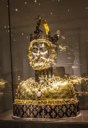 palatine: Medieval bust of Charlemagne, containing his skull bones. Editorial