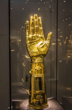 palatine: Medieval container for the arm bones of Charlemagne, in the form of his lower arm and hand. Editorial