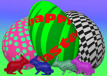 giant easter egg: Three giant easter eggs fill the space. Underneath them is a group of four playing rabbits. The background is a stylized spring landscape. Stock Photo