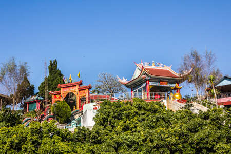 fang: A chinese temple on a small hill near the small town of Fang in the north of Thailand. Stock Photo