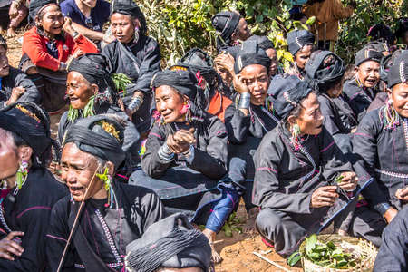 ancestors: The Ene tribe in the hills near Keng Tung is performing a ceremony for the Evocation of the Ancestors