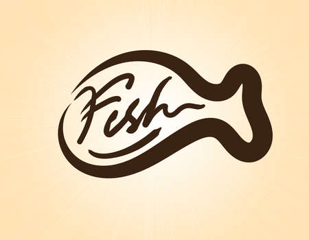 Fish Logo Restaurant making with brush simply for Your Culinary Business