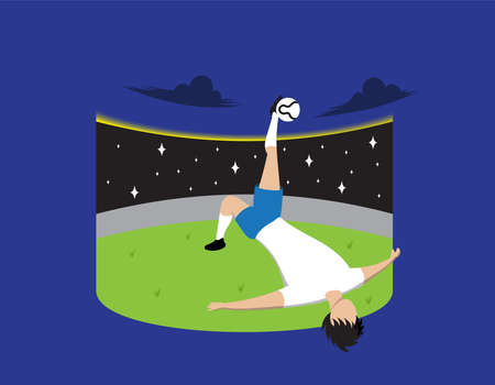A Footballer Maneuvering a Beautiful Somersault in the Middle of a Football Field while Being Exposed to the Media in Vector Illustration
