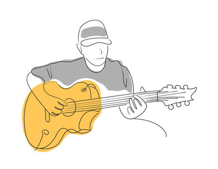 Man figure playing guitar Vector