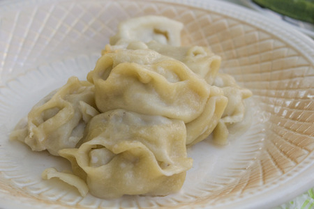 Oriental cuisine,manti are on the plate