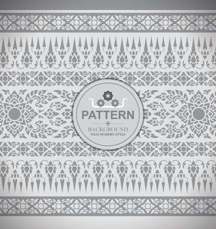 Line Thai, The Arts of Thailand, Thai pattern White background.