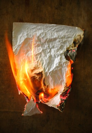 burnt wood: burning paper  Stock Photo