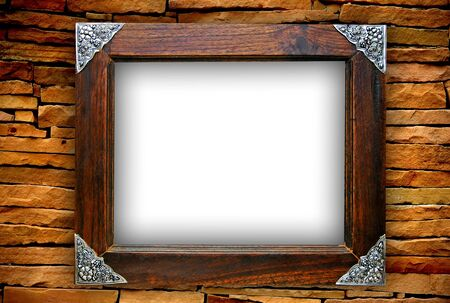 wooden frame on brickwall photo