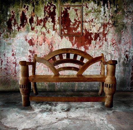 vintage room with wooden bench and old frame Stock Photo - 8269183