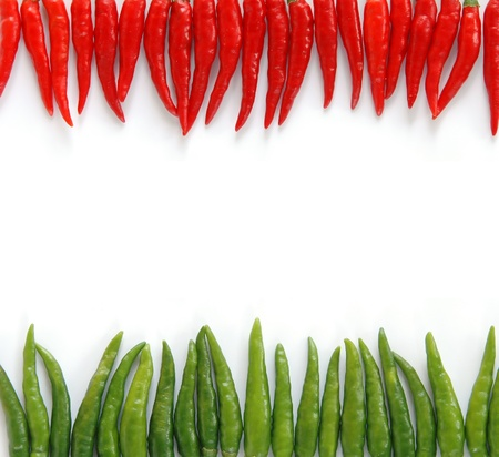 red chilli pepper plant: red and green isolated