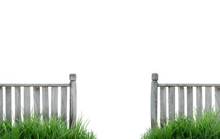 wooden fence with green grass photo