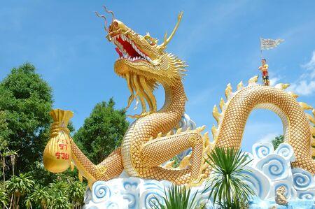blue dragon: dragon statue Stock Photo