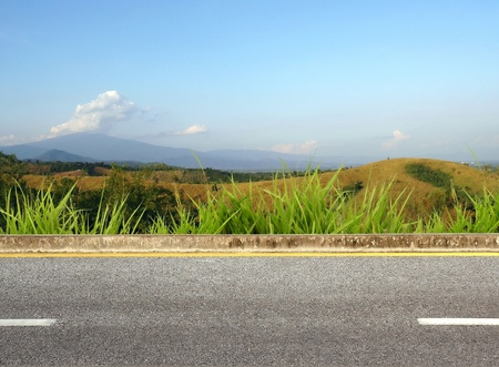 views of the mountains: roadside view Stock Photo