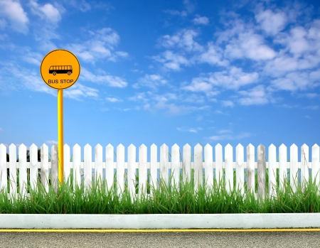 bus stop sign and roadside view Stock Photo - 9001942