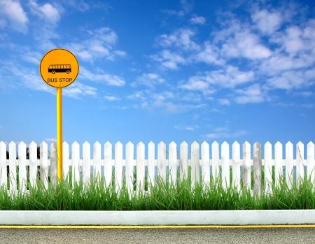 Przystanek autobusowy znak i drogach wyświetlić
