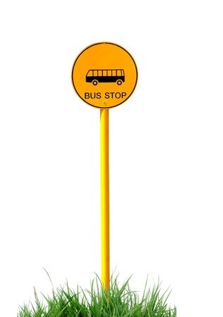 bus anglais: panneau d'arr�t de bus isol�s