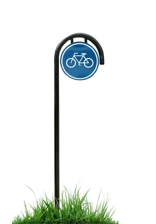 bicycle sign and green grass isolated Stock Photo - 9002561