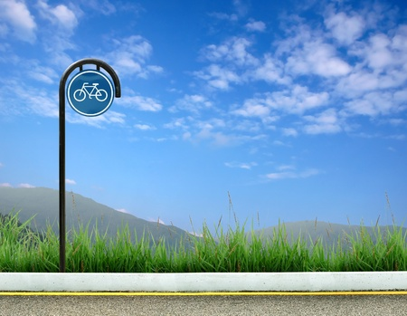 bycicle: bicycle sign  and roadside landscape
