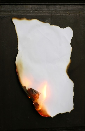 burnt wood: burning paper