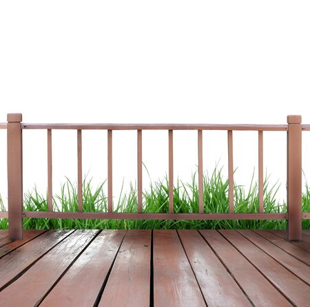 wooden terrace and white background Stock Photo