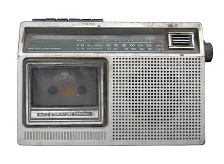 old radio cassette recorder isolated  photo