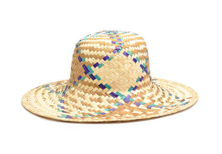 wicker work: Wicker straw hat isolated on white background  Stock Photo