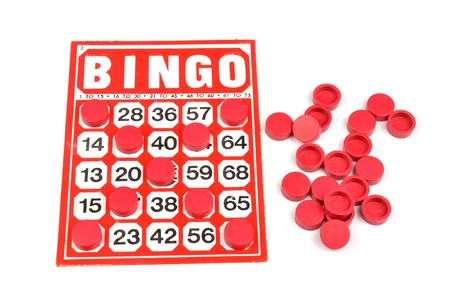 Red bingo card with winning chips  Stock Photo - 9639630