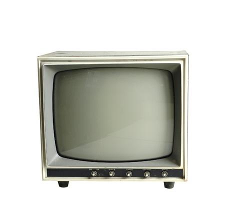 grunge old monitor isolated on white background
