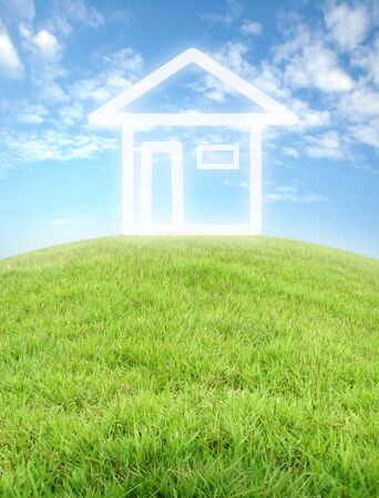 imagine house icon with white fence and blue sky Stock Photo - 9681280