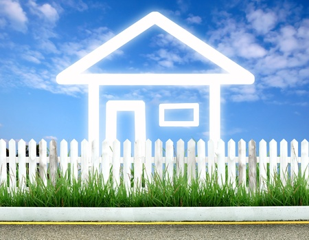 imagine house icon with white fence and blue sky Stock Photo - 9681255