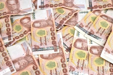 close up of 1000 baht banknotes
