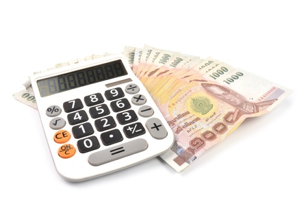 1000 baht banknotes and calculator isolated on white background Stock Photo - 9843232