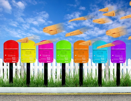7 color postbox for a week and brown envelope photo