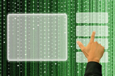 hand pushing a button on a touch screen interface with digital matrix background photo
