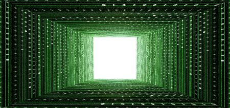 tunnel light: green matrix tunnel and light at the end